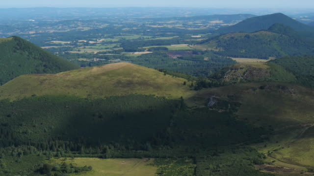 the chaîne des puys, massif central, puy de dôme, france - chain stock videos & royalty-free footage