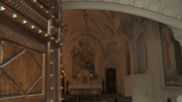 The chapel door closes at the Quinta da Regaleira in Sintra, Portugal.