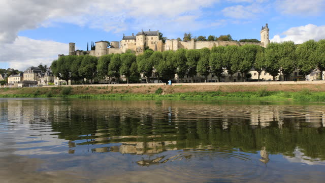 the chateau de chinon across the river vienne in the loire valley, france. - fortezza video stock e b–roll