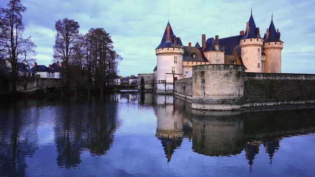 the chateau de sully-sur-loire in france. - moat stock videos and b-roll footage