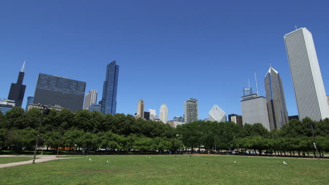 stockvideo's en b-roll-footage met the chicago skyline from grant park, chicago - chicago illinois