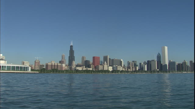 the chicago skyline stands on the banks of lake michigan. - two prudential plaza stock videos & royalty-free footage