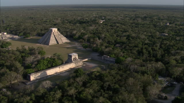 the chichen itza ruins are seen from the air. - mayan stock videos & royalty-free footage