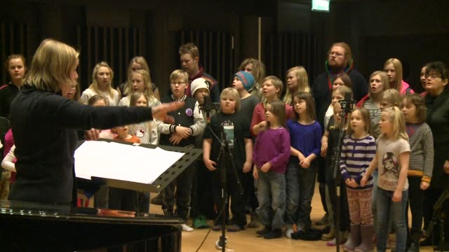 the children opera choir in umea this year european culture capital mingles with kids from the indigenous sami minority for traditional yoik singing... - musikstil stock-videos und b-roll-filmmaterial