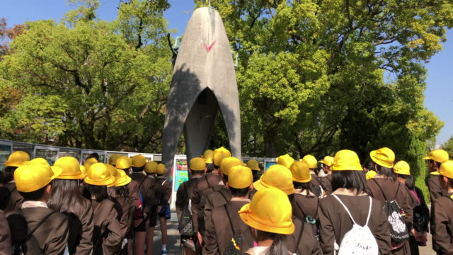 the children peace memorial and the thousand crane origamis - memorial event stock videos & royalty-free footage