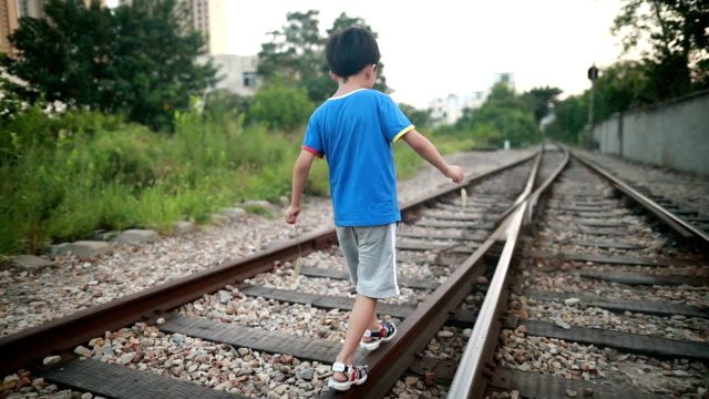 the children play on the track - locomotive stock videos & royalty-free footage