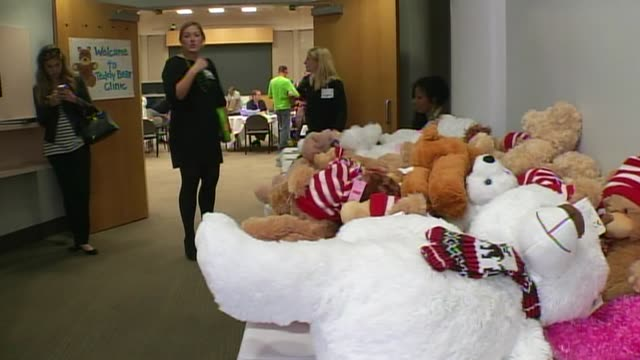 the children's medical center held a teddy bear clinic to help children understand what goes on in a hospital on march 13 2014 in dallas texas... - scientific imaging technique stock videos & royalty-free footage