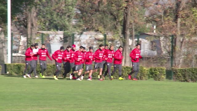 the chilean soccer squad conduced by the argentine coach jorge sampaoli is already concentrated in santiago to get ready for the world cup brazil... - oranje stock videos & royalty-free footage