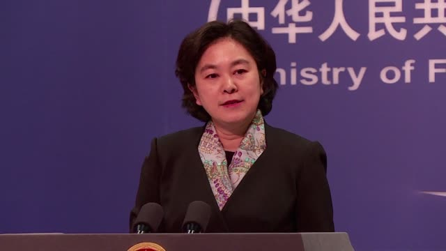 the chinese foreign ministry demands the us to revoke the arrest warrant for detained huawei top executive meng wanzhou at a regular press meeting... - arresto video stock e b–roll