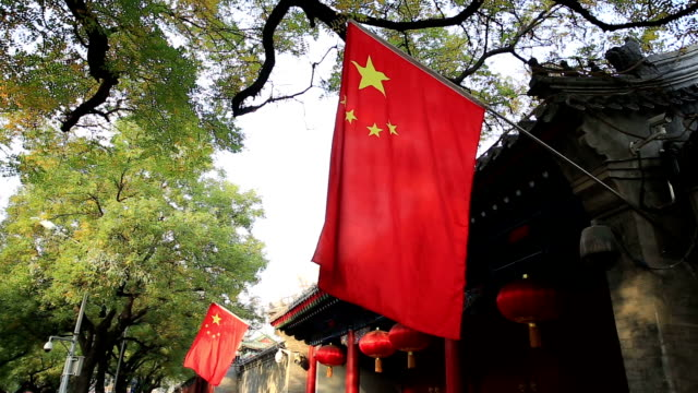 the chinese national flag in the forbidden city, beijing, china - forbidden city stock videos & royalty-free footage