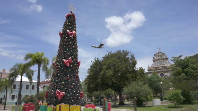 the christmas tree and decorations in the town square of antônio prado, rio grande do sul, brazil. - 1899 stock videos & royalty-free footage