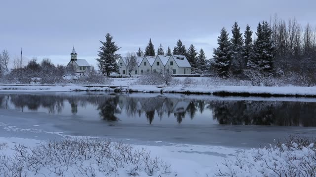 The church and Prime Ministers houses, Pingvellir National Park, southwestern Iceland