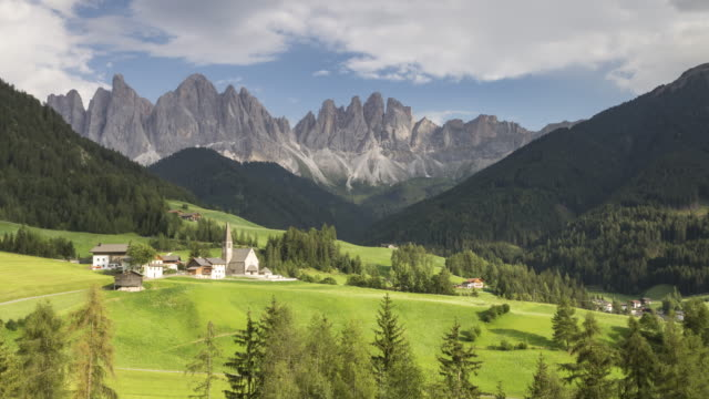 the church in santa maddalena alta in the dolomites, italy. - mediterranean culture stock videos & royalty-free footage