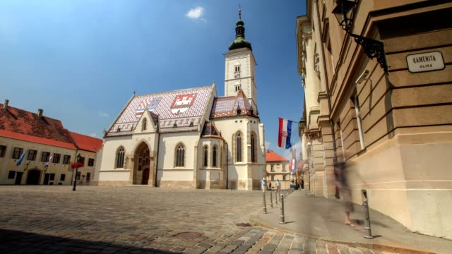 the church of st. mark - zagreb stock videos & royalty-free footage