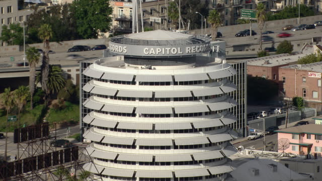 The circular Capitol Records Building in Hollywood, Los Angeles. The building was designed in the Googie architectural style.