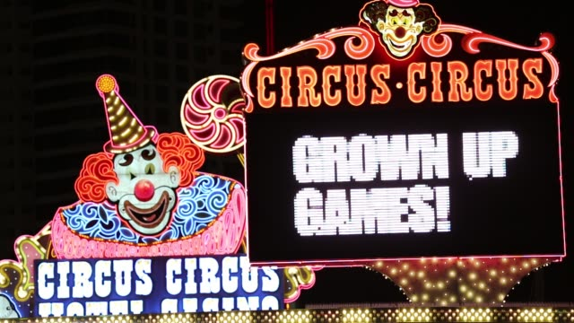 the circus circus hotel in casino in las vegas, nevada, usa, probably the most unsustainable city in the world, it uses vast quantities of water in... - las vegas stock videos & royalty-free footage