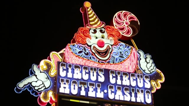 the circus circus hotel in las vegas, nevada, usa at night. - las vegas stock videos & royalty-free footage