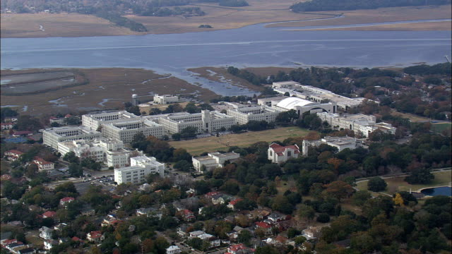 the citadel  - aerial view - south carolina,  charleston county,  united states - fortress stock videos & royalty-free footage