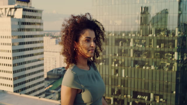 the city is mine. mixed race businesswoman enjoying rooftop view - femininity photos stock videos & royalty-free footage