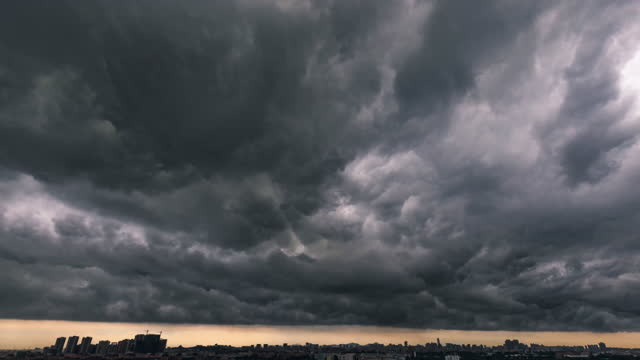the city is threatened by black clouds - meteorology stock videos & royalty-free footage