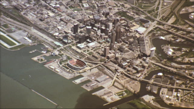 the city of cleveland, ohio lines the shores of lake erie. - ohio stock videos & royalty-free footage