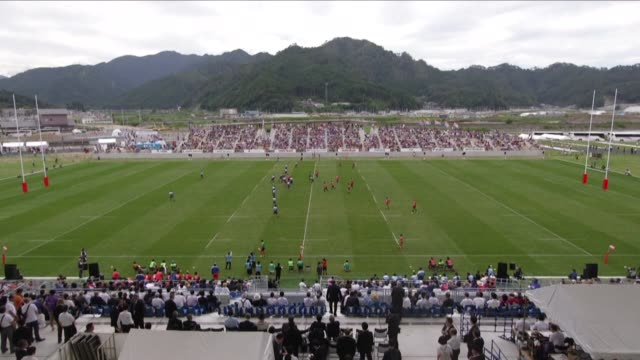 the city of kamaishi in northeast japan inaugurates its new rugby stadium which in a bit more than a year will host two matches of the upcoming world... - campionato sportivo video stock e b–roll