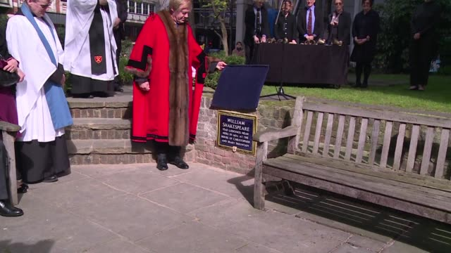 the city of london unveils a plaque near the site where playwright william shakespeare took lodgings around 1604 in central london to mark the 400th... - scriptwriter stock videos & royalty-free footage