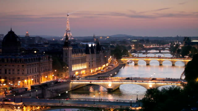 The city of Paris at night.