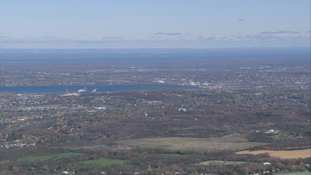 aerial the city of syracuse and onodaga lake / new york, united states - syracuse stock videos & royalty-free footage