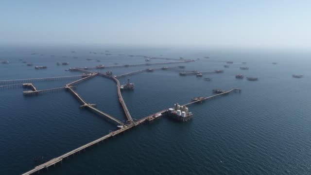 vídeos de stock e filmes b-roll de oil rocks – the city on the caspian sea. offshore oil production. aerial view of  oil production at caspian sea. - oleoduto