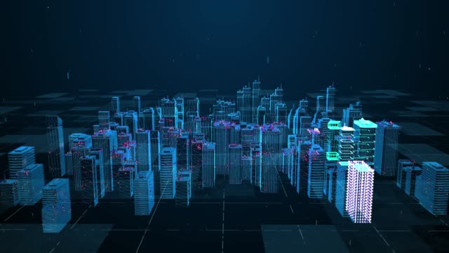 the city town  technology and digital analysis 4k - cyberspace stock videos & royalty-free footage