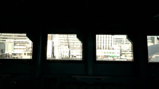 the city view that can see from the inside of ship's bridge of ice breaker