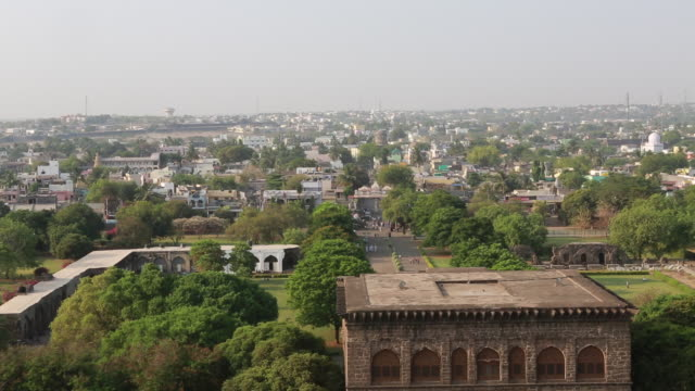 ws of the cityscape of bijapur from the terrace of the gol gumbaz the mausoleum of king mohammed adil shah sultan of bijapur on march 29 2013 in... - mausoleum stock videos and b-roll footage