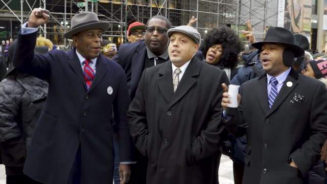 The civil rights organization National Action Network along with clergy leaders community leaders and racial justice activists rallied in front of...