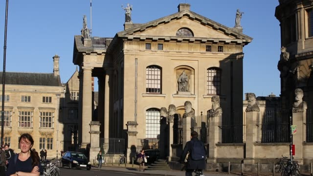the clarendon building on broad street oxford which was built to house the oxford university press - stone material stock videos & royalty-free footage