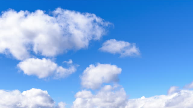 the clear sky with cumulus cloud 4k time lapse - cumulus cloud stock videos & royalty-free footage