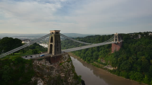 the clifton suspension bridge bristol with the river avon below in early morning sunlight - clifton suspension bridge stock videos and b-roll footage