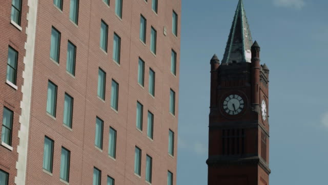 the clock tower at the indianapolis union railroad station - clock tower stock videos and b-roll footage