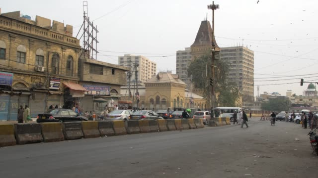 the clock-tower at empress market, the most popular and busy places for shopping in karachi, pakistan - karachi stock videos & royalty-free footage