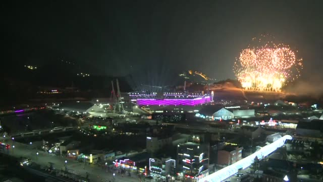 the closing ceremony of the 2018 winter olympics games gets underway bringing to an end 16 official days of competition in 15 sports - olympische spiele stock-videos und b-roll-filmmaterial