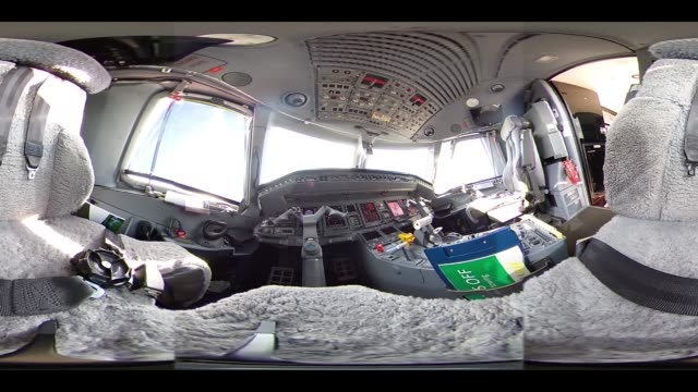 Video was created as an Equirectangular Panorama Import video into a panoramic player to create an interactive 360 degree view The cockpit of an...