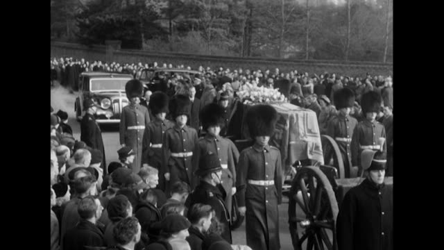 The coffin of King George VI leaves the Sandringham estate accompanied by the royal family