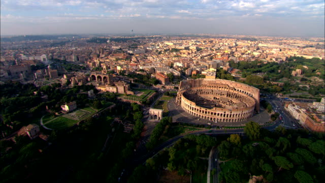 the coliseum, rome - aerial view - latium, rome, italy - rome italy stock videos & royalty-free footage