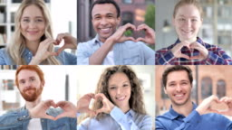 The Collage of Young People Making Heart With Hands