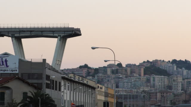 The collapsed Morandi motorway bridge in Genoa on September 9 2018 The giant motorway bridge collapsed on August 14 2018 killing 43 people The...