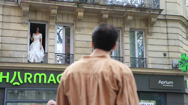 """the collective of artists """"nuit orange"""" performs street theater as they interpret plays of molière, marivaux or anouilh on may 09, 2021 in paris,... - lifestyles stock videos & royalty-free footage"""