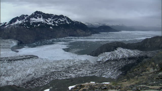 the colombia glacier reaches its terminus at prince william sound. available in hd. - prince william sound stock videos and b-roll footage