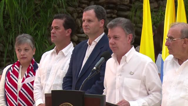 the colombian government and farc rebels will sign a definitive peace deal within six months to end a half century of conflict, president juan manuel... - juan manuel santos stock videos & royalty-free footage