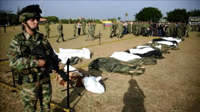 the colombian military says an offensive against farc over the weekend killed 14 guerrillas clean : offensive against farc kills 14 on january 21,... - tame stock videos & royalty-free footage