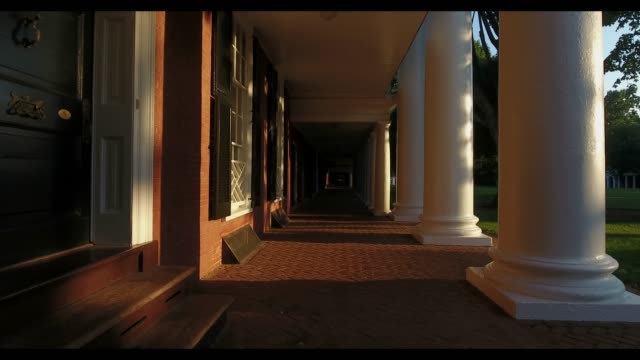 The colonnades on grounds at The Lawn in the University of Virginia